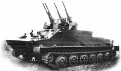 Опытная зенитная самоходная установка БТР-50П с ЗТПУ-4