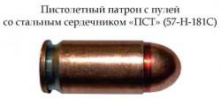 Пистолетный патрон 9х18 с пулей со стальным сердечником «ПСТ»