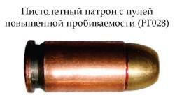 Пистолетный патрон с пулей повышенной пробиваемости РГ028