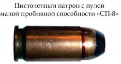 Пистолетный патрон с пулей малой пробивной способности «СП-8»