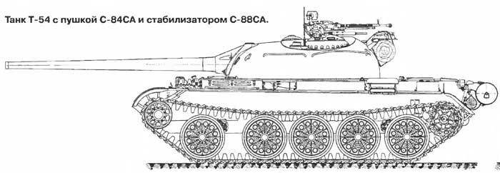 Опытный танк Т-54 с пушкой С-84СА и стабилизатором С-88СА