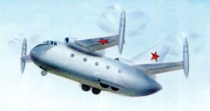Проект военно-транспортного конвертоплана СВВП Бе-32 1965 года